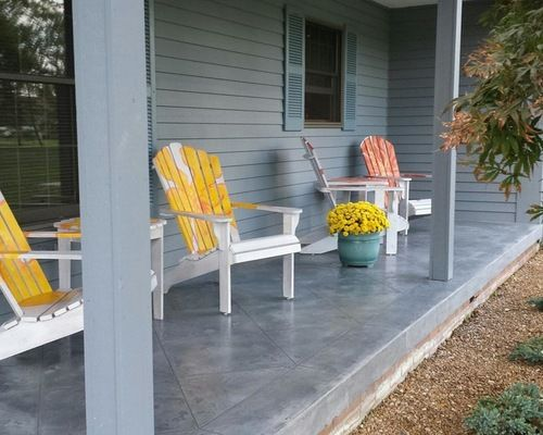 Textured Slate Grey Stained Concrete Tile Front Porch