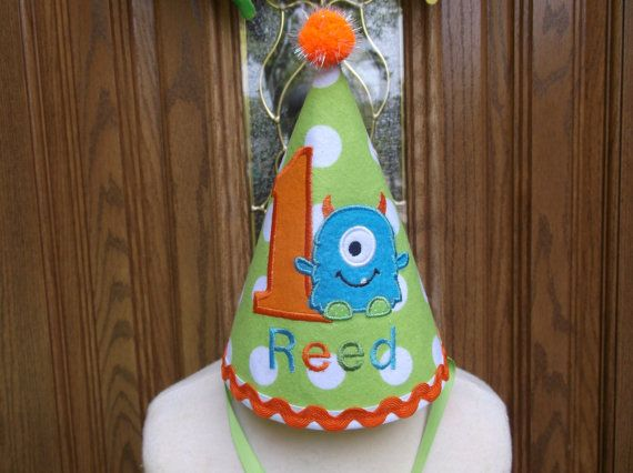 Lime, Orange  Turquoise Monsters Inc. Party Hat