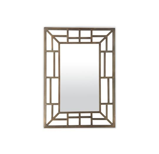 """EVA MIRROR Intricate fretwork in a patinaed vintage-brass finish defines this chic 30""""w x 42""""h mirror. We love using a trio of Evas to fil..."""