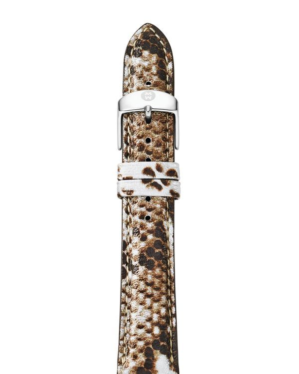 Michele Snake Print Leather Watch Strap, 18mm