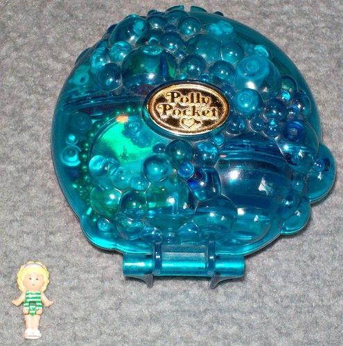 Polly Pocket   Bubbly Bath Badezimmer Bad 80er 90er Jahre Mini Vintage Dose  Blau
