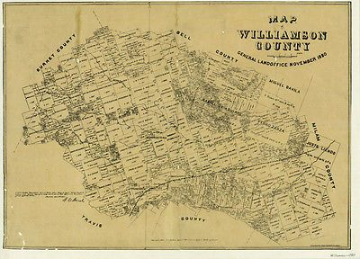 Map Of Texas 1880.Antique Historical Reproduction Texas Map Of Williamson County 1880