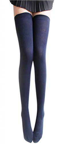 048afcf5ad7 AM Landen Women s Thigh High Socks (Navy Blue) AM Landen http