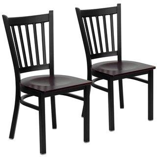 Metal Vertical Back Chair 17 W X 20 25 D X 34 25 H Cherry Wood