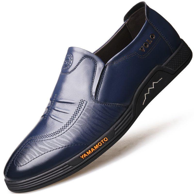 Men genuine leather slip resistant slip on casual driving