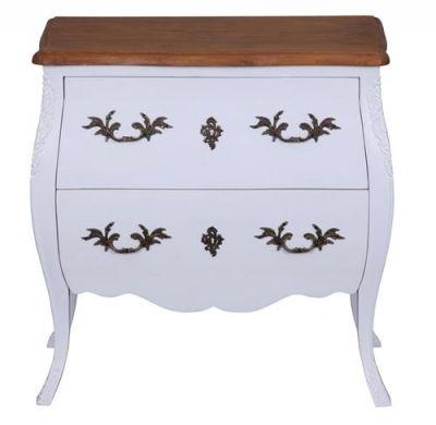 mode baroque couleur blanc avec plateau en chªne 80x45x82cm