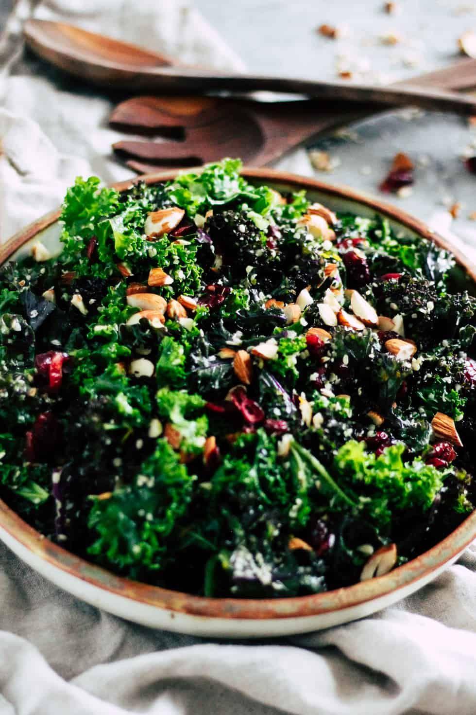 Make-Ahead Kale Salad + Cranberry Orange Dressing