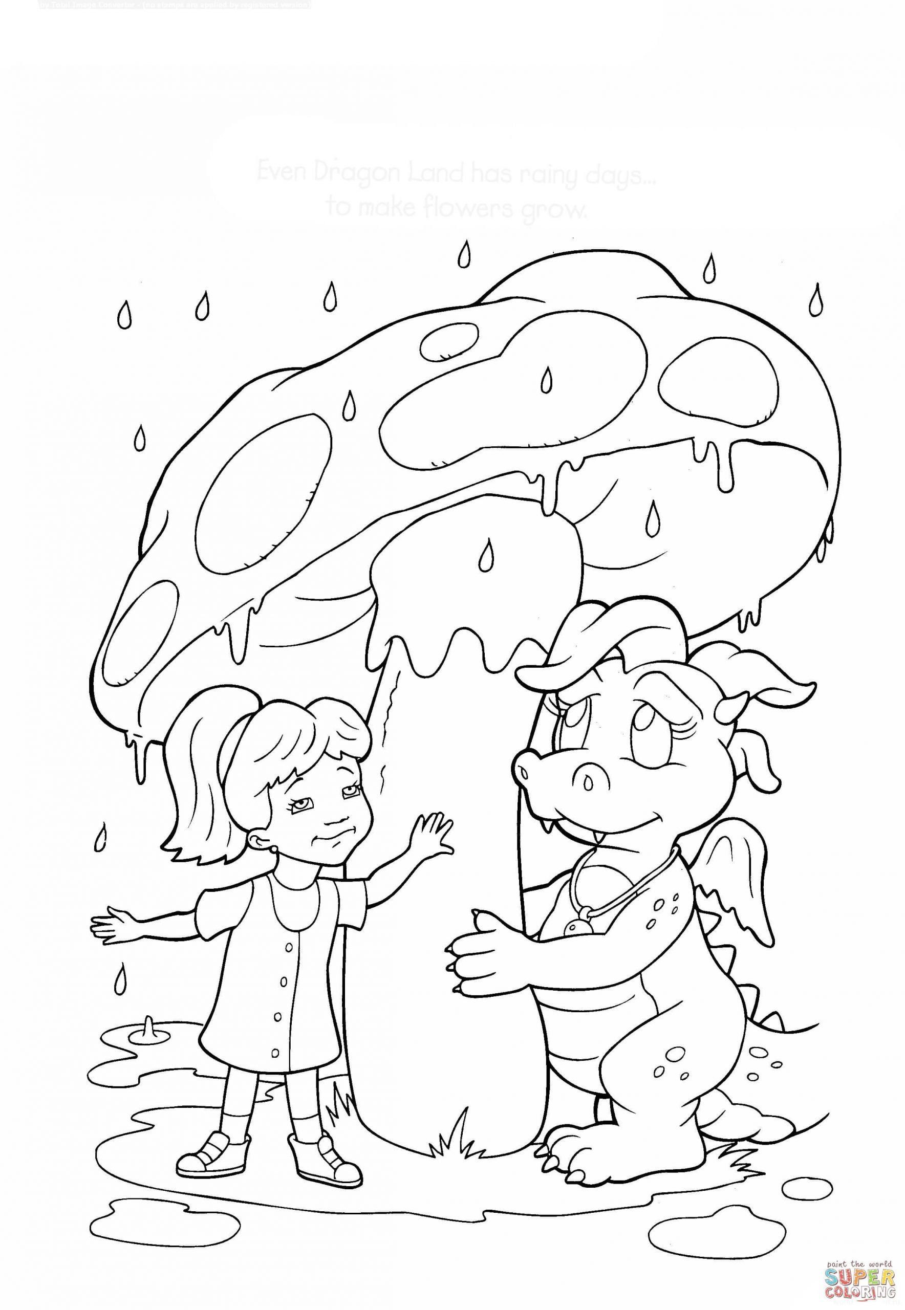 Rainy Day Coloring Sheets Rainy Day In Dragon Land