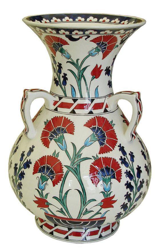 Antique Medium Round Iznik Vase With 3 Handles Vase