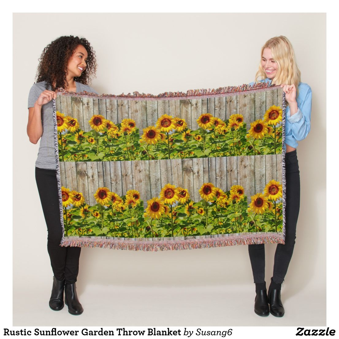 Rustic sunflower garden throw blanket yellow home decor pinterest