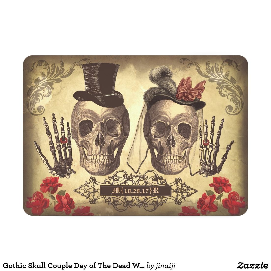Gothic Skull Couple Day Of The Dead Wedding Invite