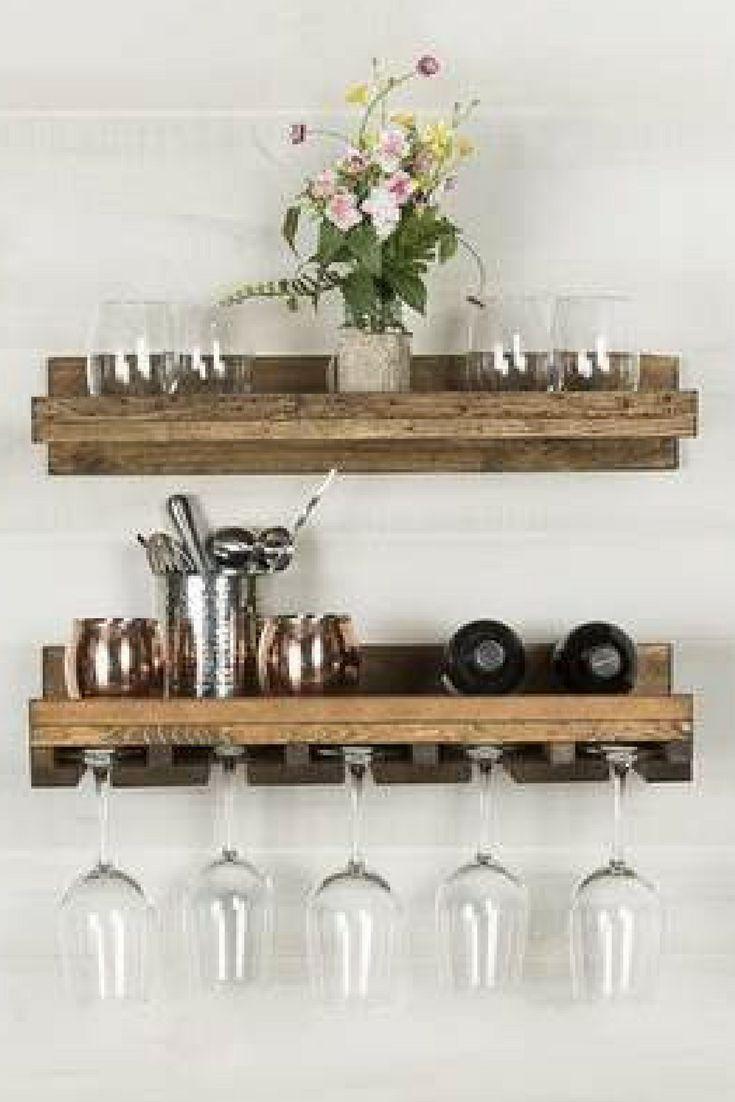 Eaker rustic wall mounted wine glass rack farmhouse ad