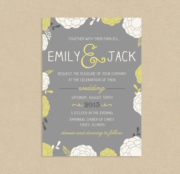 Printable Wedding Invitation Fun Floral 5x7 Yellow and Greys ...
