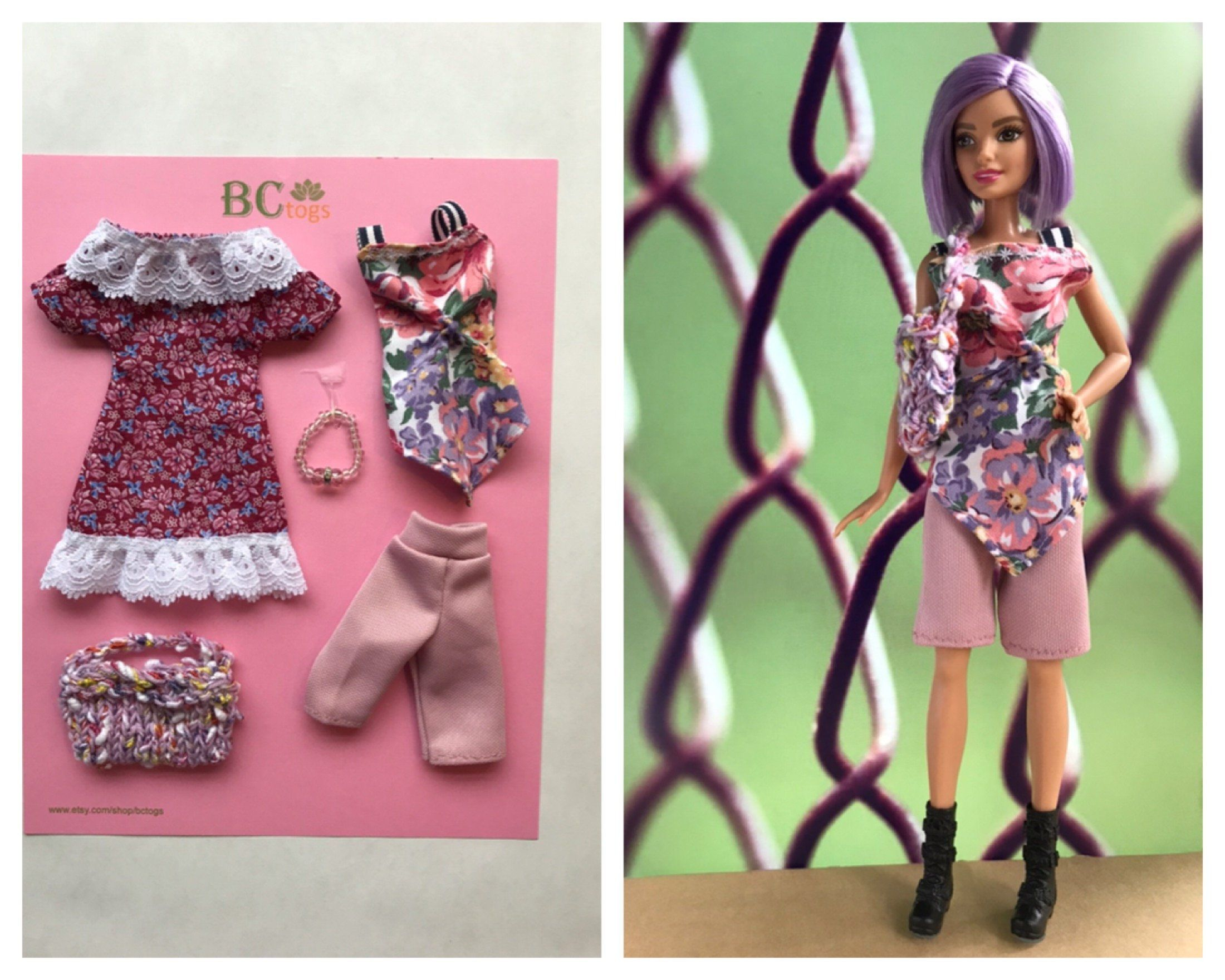 HAND Knitted BARBIE DOLL/'S Top Rosa /& Multi Colore Pantaloncini