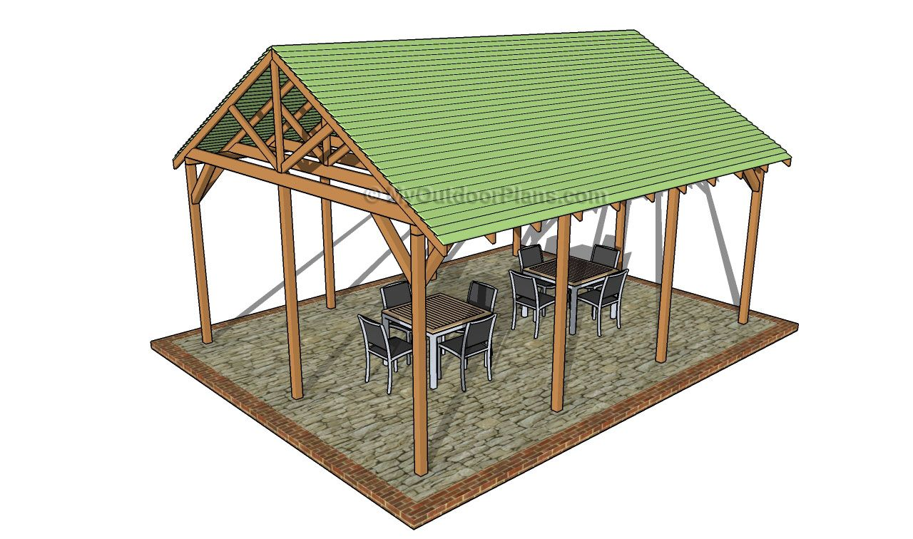 Outdoor pavilion plans free outdoor plans diy shed for Outside buildings design