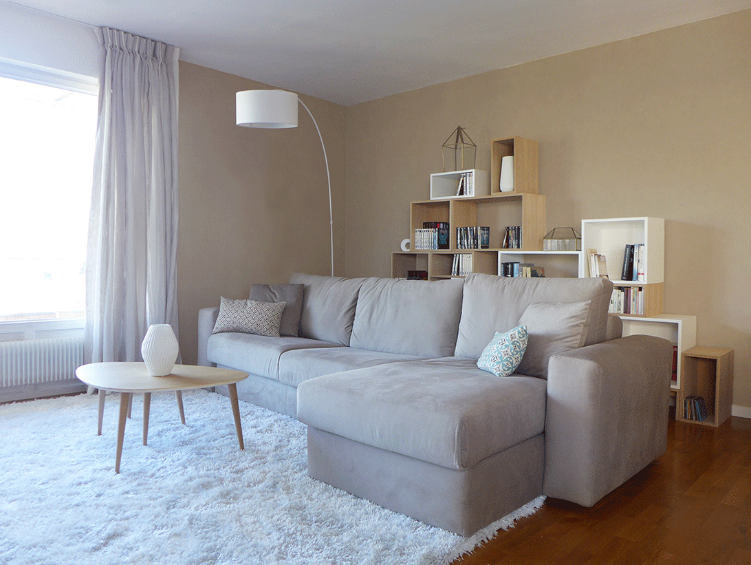 salon_style_scandinave_beige_taupe · Salon DecoDéco