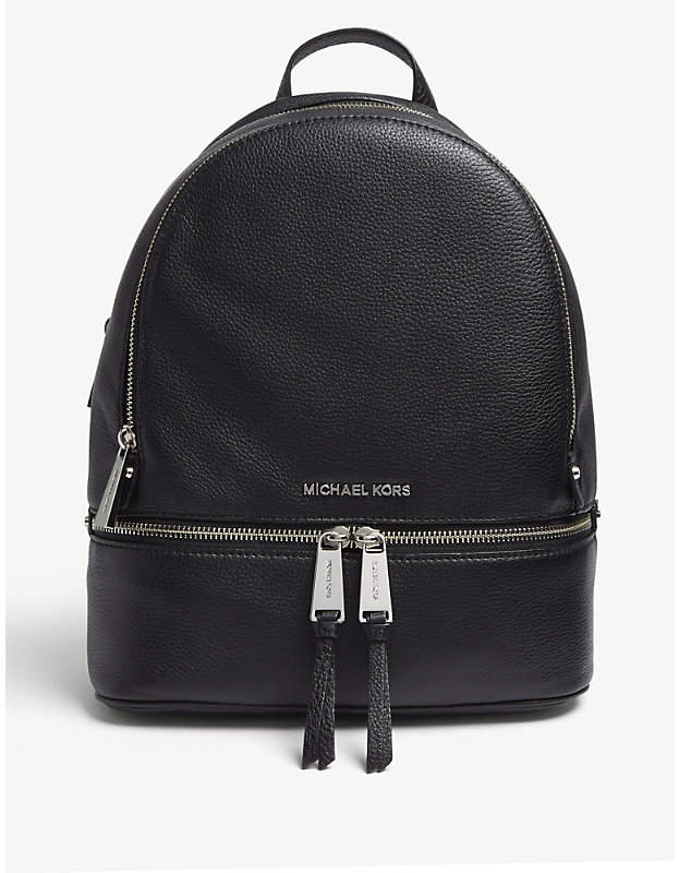 66991794fbaa MICHAEL Michael Kors Michael Kors Black Rhea Leather Backpack ...