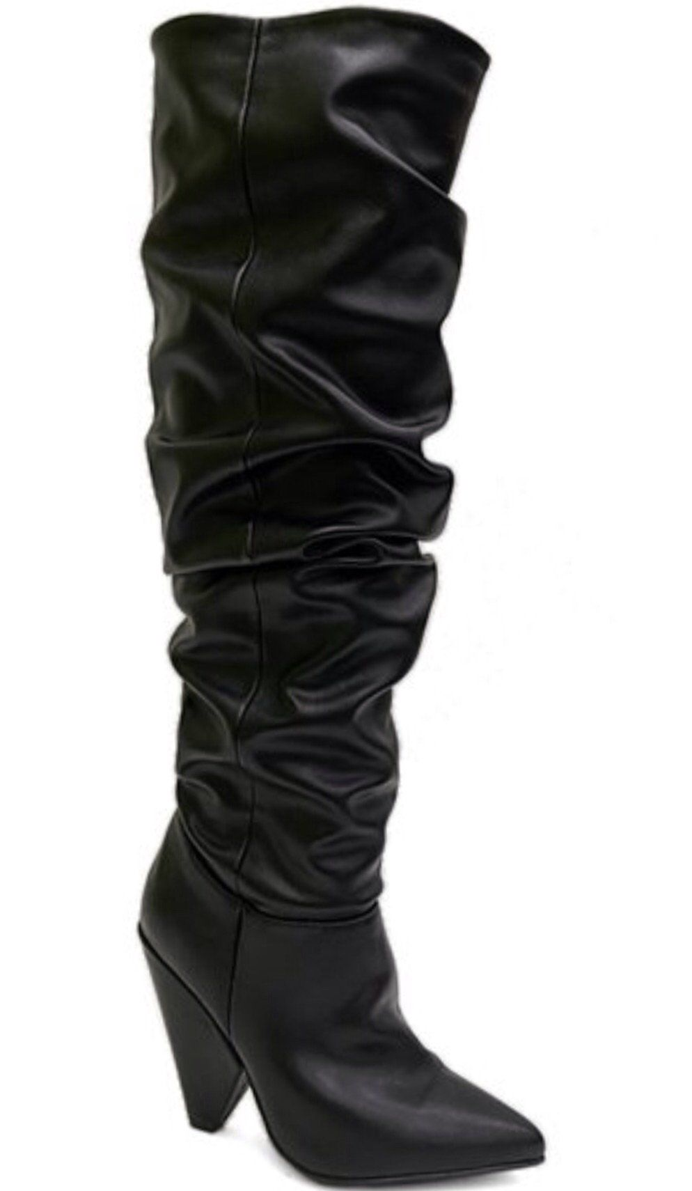 feba6980fa486 Black cone heel boot comfy and stylish, these tall boots are versatile and  can be worn with leggings or a dress.