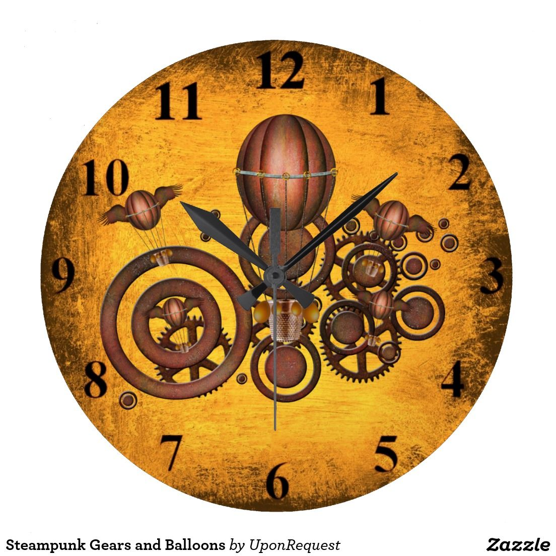 Steampunk gears and balloons round clock steampunk gears and nursery
