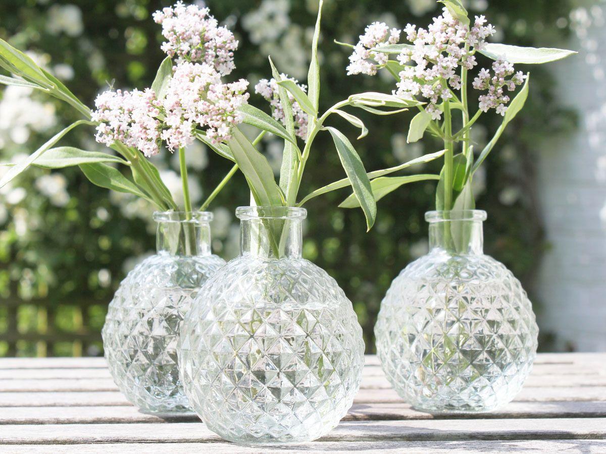 Shabby Chic Flower Vintage Antique French Glass Bud Vase Name