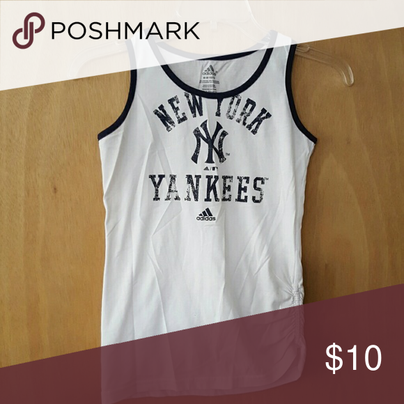 Adidas NY Yankee tank New York Yankees tank. Side ruching. NWOT. Never worn! Purchased in stadium. Adidas Shirts & Tops Tank Tops