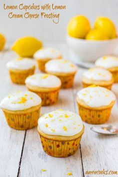 Lemon Cupcakes with Lemon Cream Cheese Frosting - Soft, fluffy, moist, very lemony cupcakes from scratch! Easy one-bowl, no-mixer recipe for cupcakes that taste like they're from a bakery!