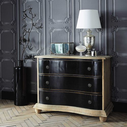 commode en bois recycl effet vieilli l 110 cm chambres. Black Bedroom Furniture Sets. Home Design Ideas