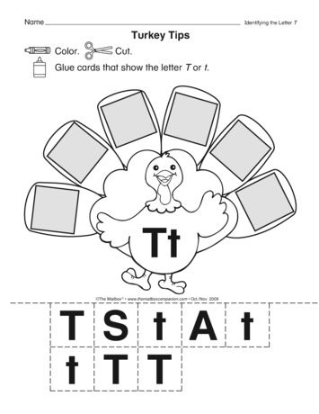 T is for turkey! This worksheet provides practice with