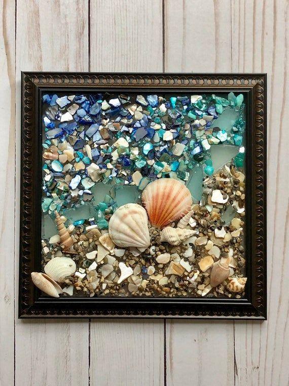 Beach Glass Art Resin Beach Art Coastal Decor Coastal Sun Catcher