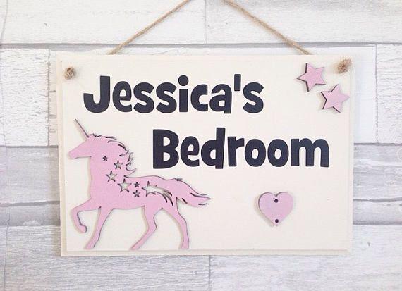 Unicorn Theme Bedroom Personalised Door Signs Girls Room Plaque