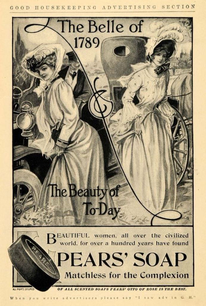 """Advertising for Pears' Soap. Through the years, the best perfumed toilet soap. - Board """"Art-Savons and Soaps"""". -"""