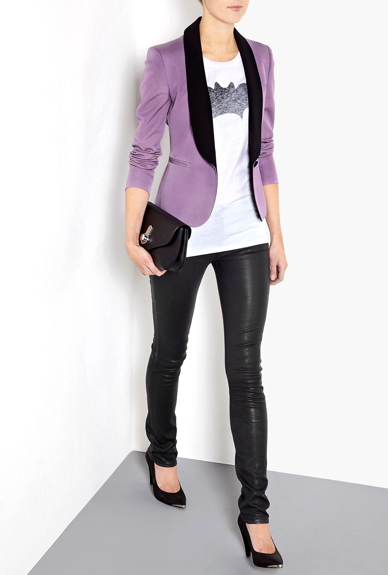 29c6c451 Black Iris Waxed Leather Tilda Straight Leg Jeans by Hudson ...
