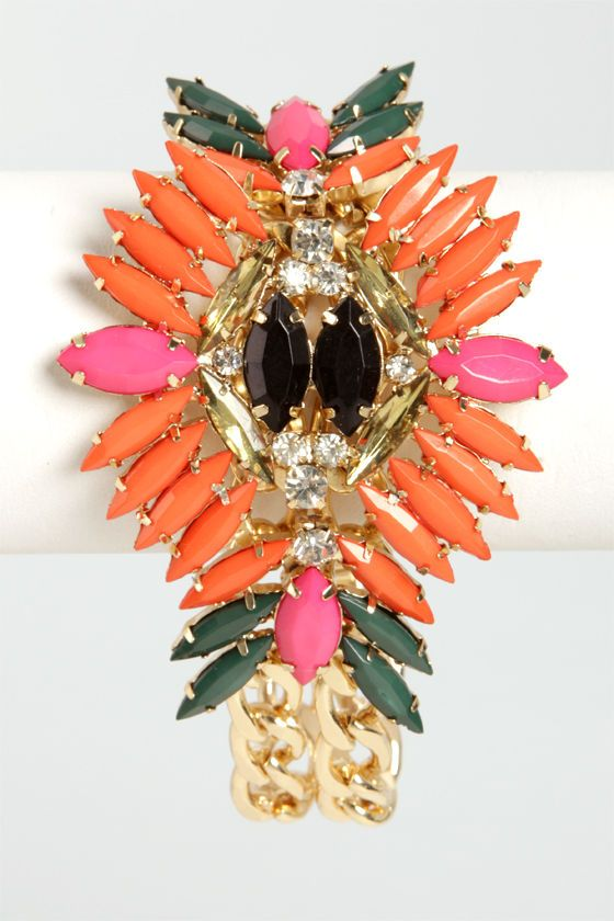 Passion Flower Coral Rhinestone Bracelet at LuLus.com!