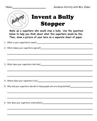 Worksheet Printable Bully Story For Kids invent a bully stopper superhero education pinterest bullies superhero