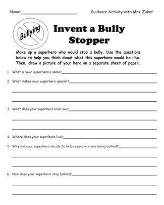 Worksheet Printable Bully Story For Kids invent a bully stopper superhero education pinterest bullies superhero