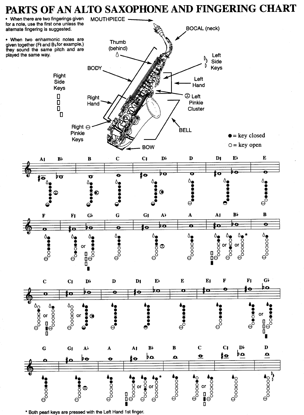 Parts of an alto saxophone and fingering chart music school