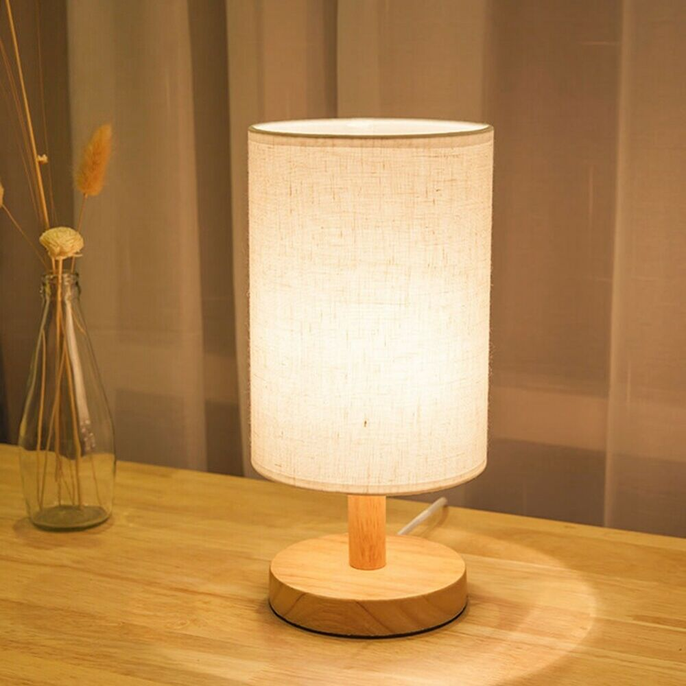 1pcs Linen Cover Wood Stand Lamp Small Night Light For Study Room