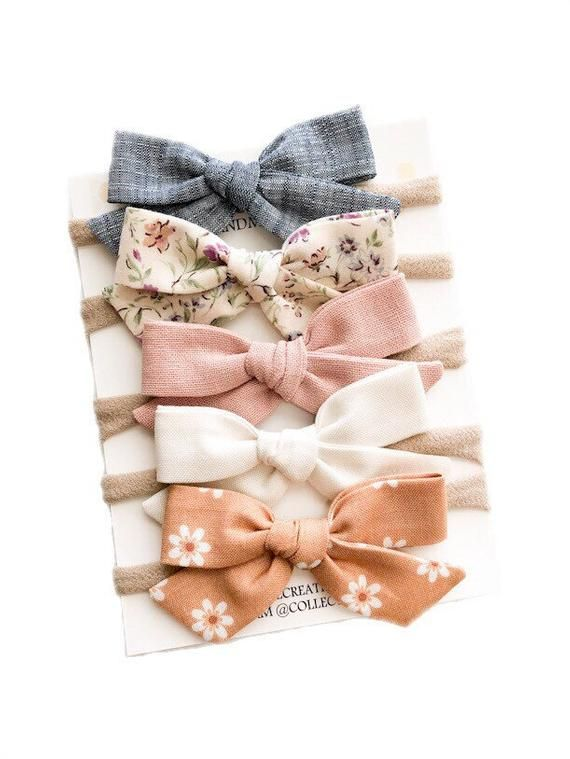 Headbands Bows - Baby Girl Bows Clips - Floral Pink Baby Bows Set - School Girl Bow Clips - Baby Headbands Bows - Nylon Headbands for Babies #babyheadbands