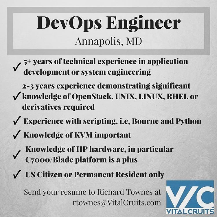 DevOps Engineer opportunity in Annapolis, MD. Email