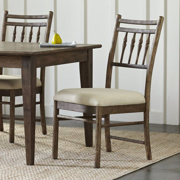 Upholstered Slat Back Side Chair In Mid Grey Dining Chairs Side