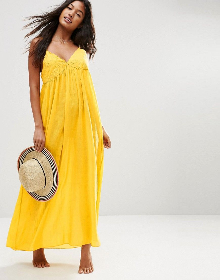 914f8bc734 ASOS+Lace+Cup+Babydoll+Maxi+Beach+Dress | Clothes | Yellow maxi ...
