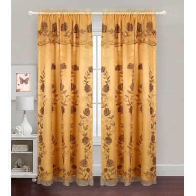 Glory Home Design Zoey Embroidered Floral Semi Sheer Rod