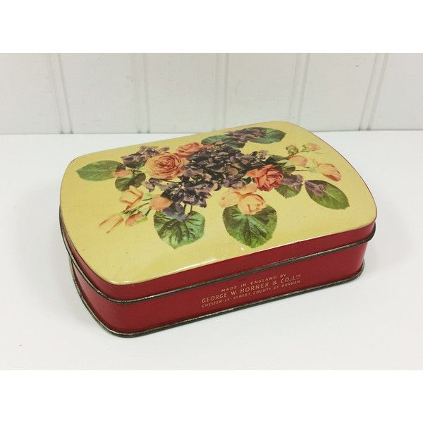 George Horner Rose and Violets Litho Tin, Old Metal Candy Box with Lid Made In England ($12) found on Polyvore
