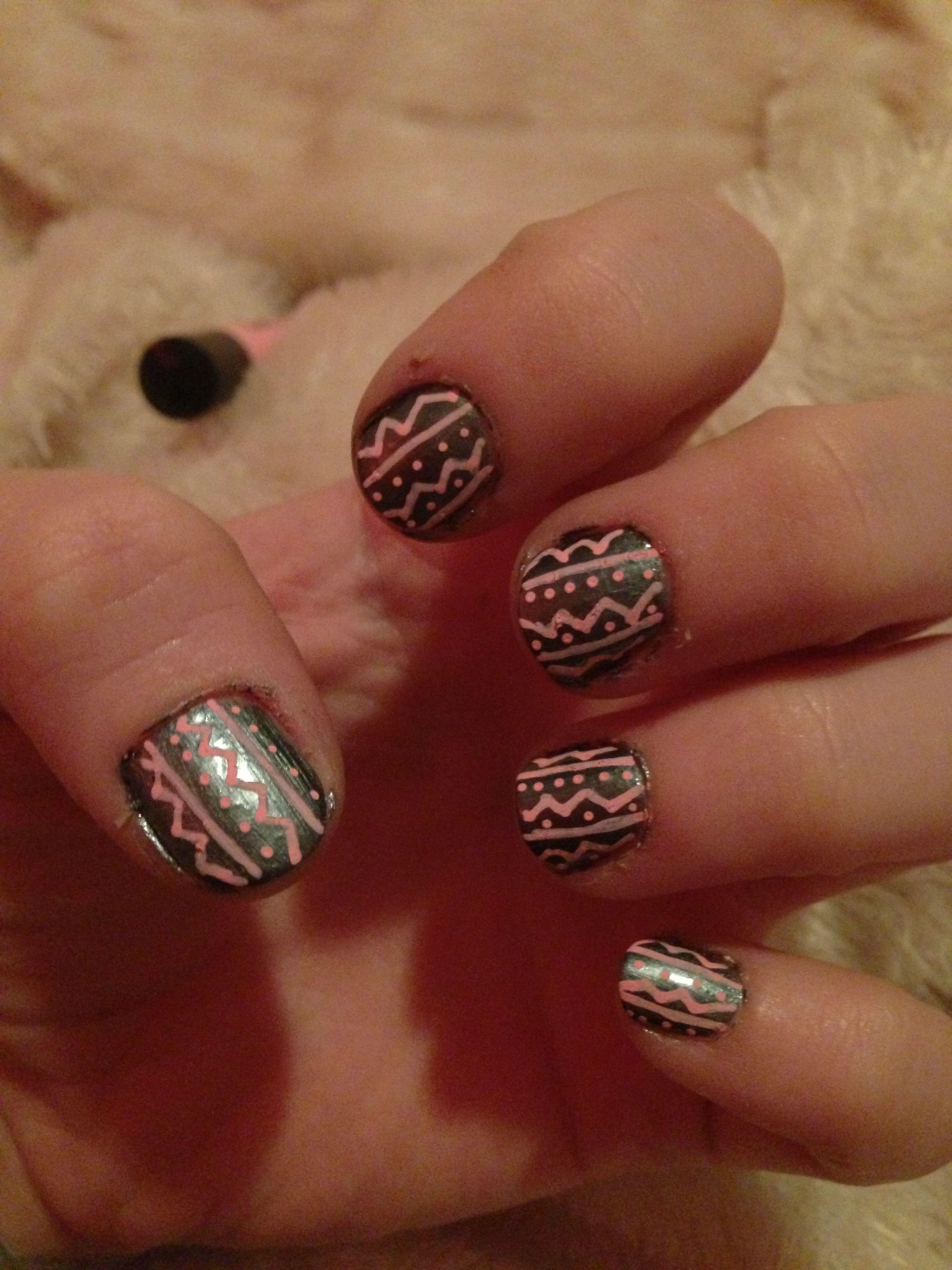 Aztec nails choose any color nail polish and any color nail art pen ...