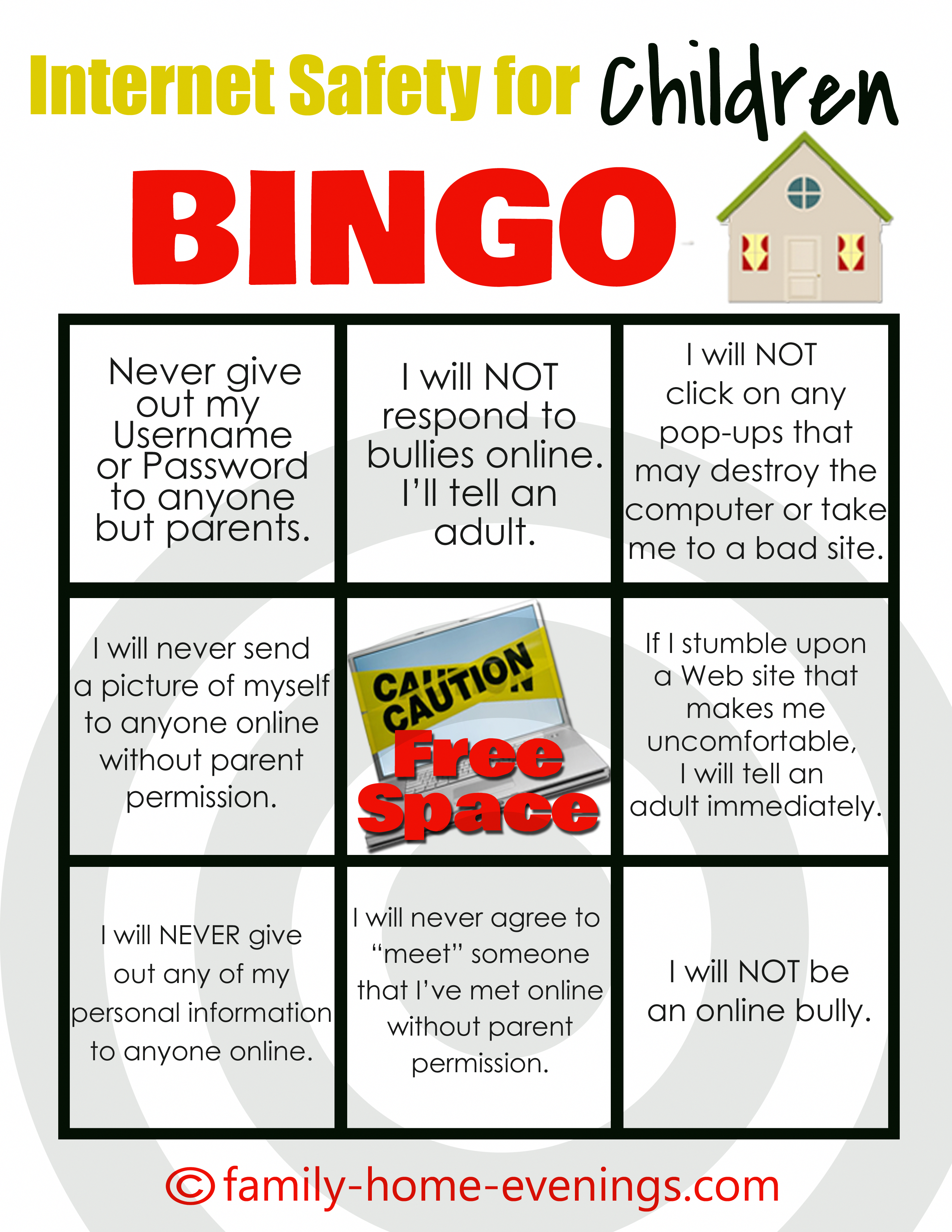 safety for Children Bingo card Family Home