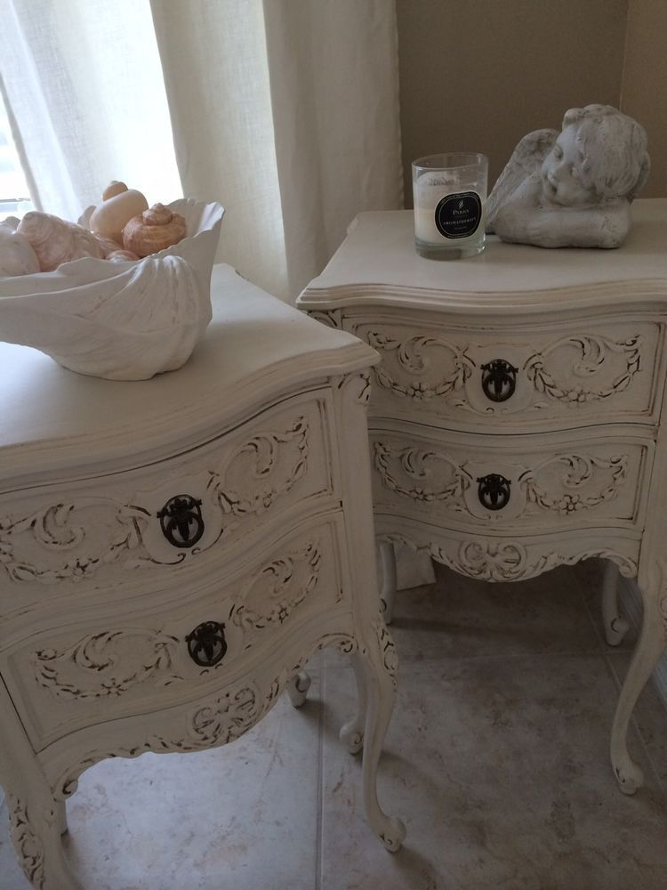 Best Pair Of French Antique Nightstands Solid Wood Brass 400 x 300