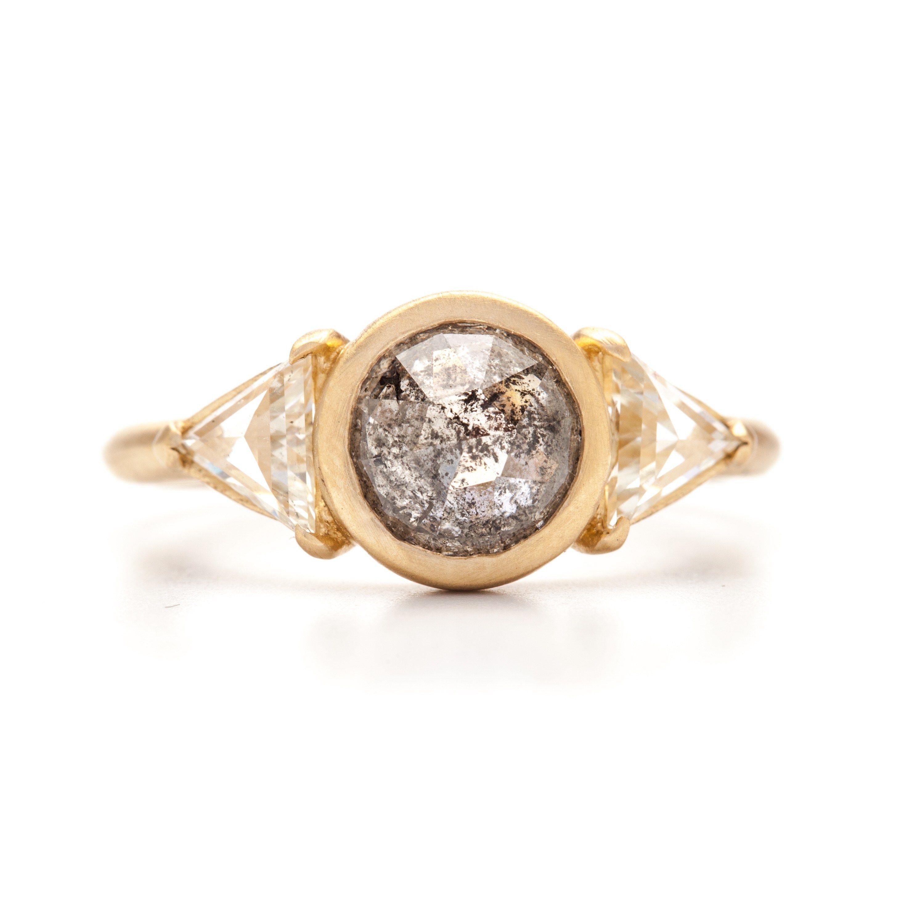 Salt & Pepper Rose Cut & White Triangle Diamond Ring