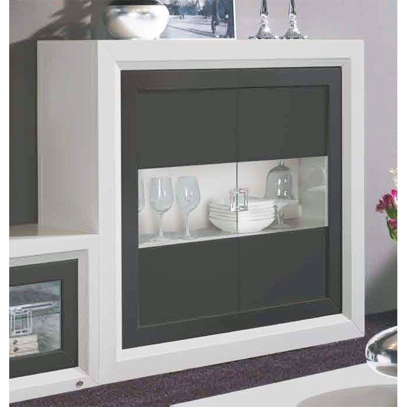 vitrina con 2 puertas cristal y madera - pino