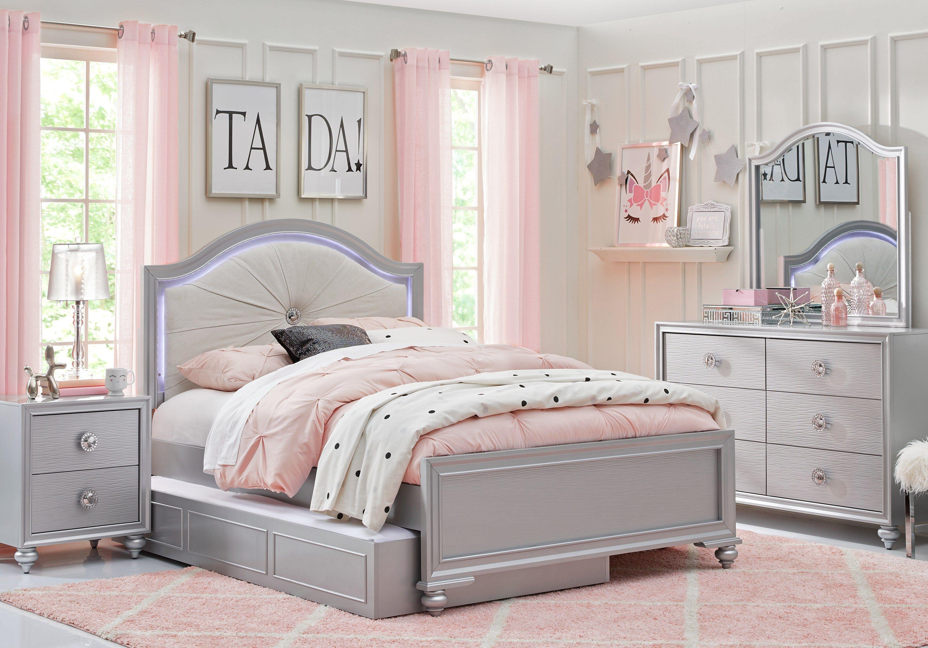 Evangeline Silver 4 Pc Full Panel Bedroom Girls Bedroom Sets
