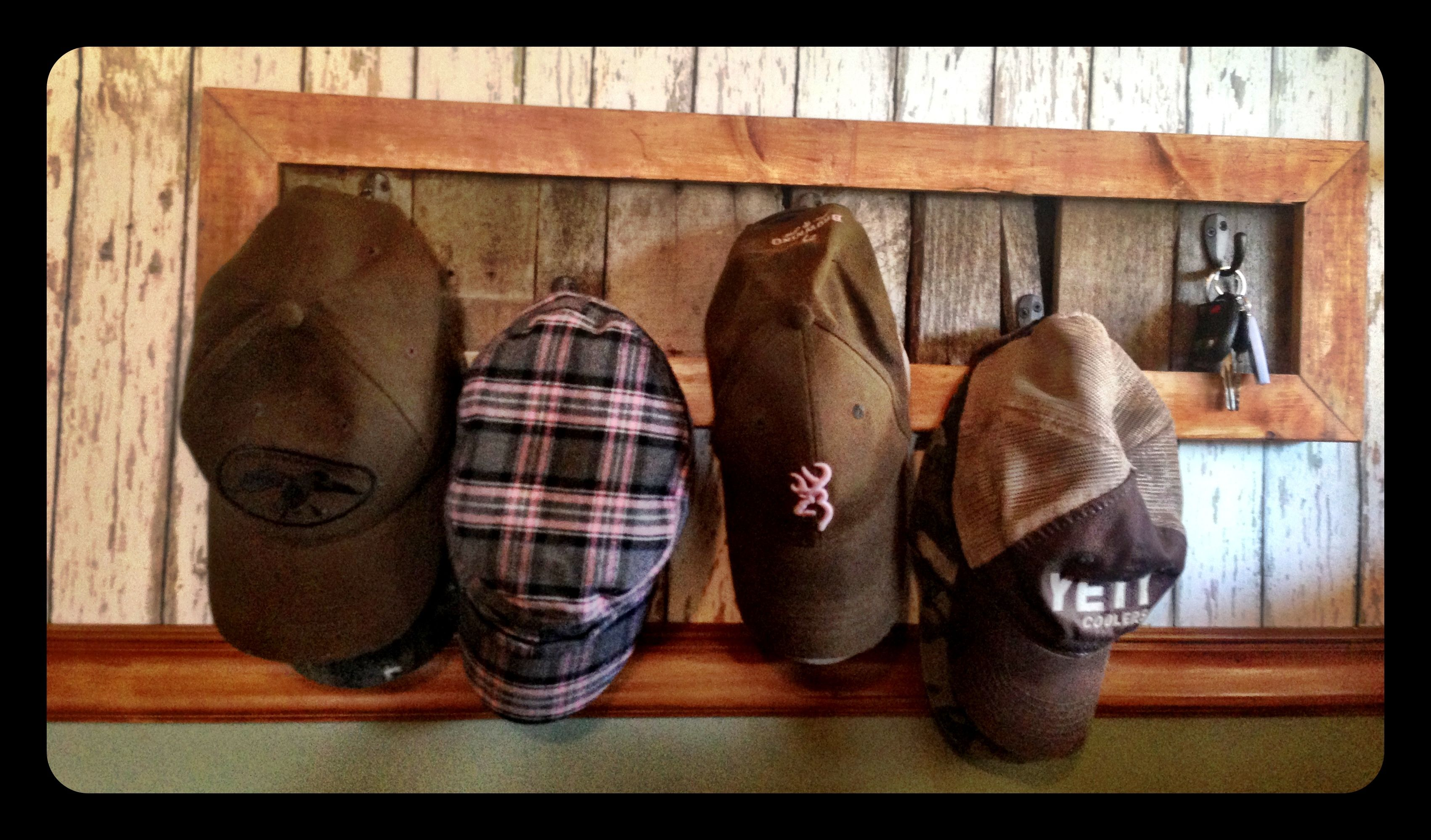 Hat rack made from pallets.